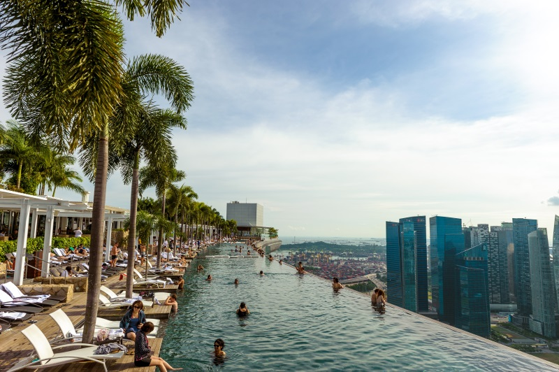 Zwembad van Marina Bay Sands in Singapore