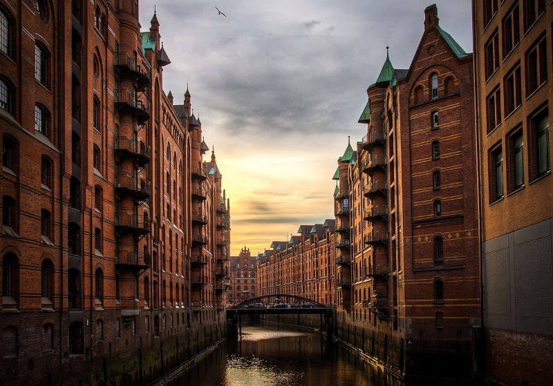 Gevels in Speicherstadt, Hamburg